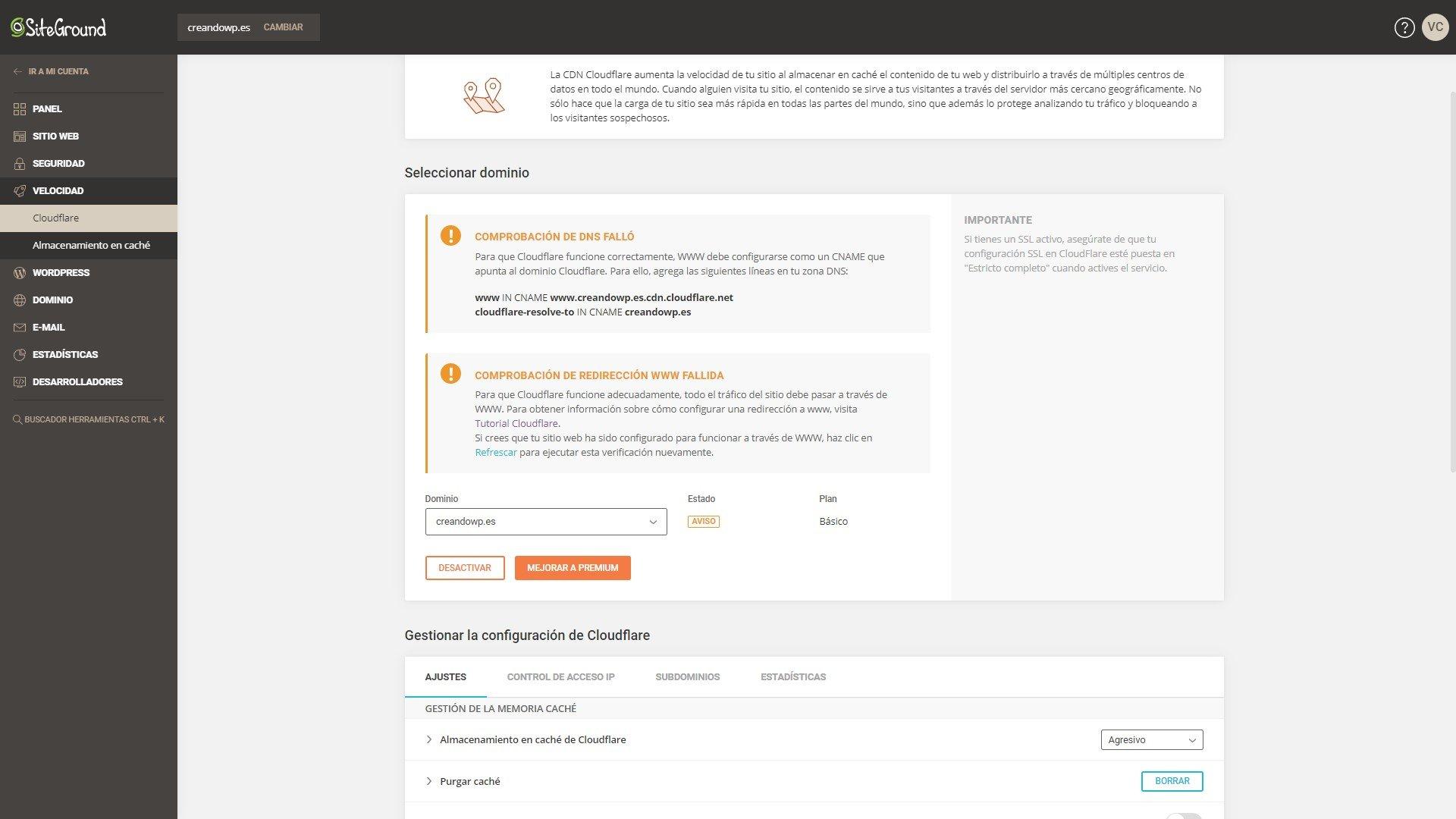 Panel de control de Cloudfare en Siteground