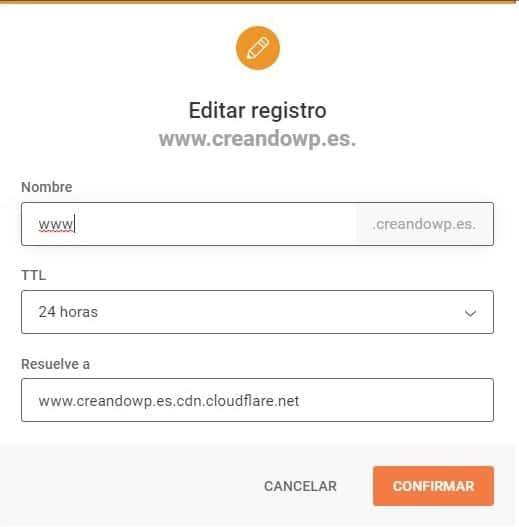 Creación DNS para www