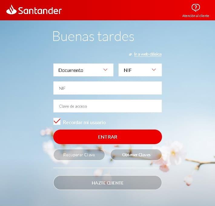 Banco Santander falso portal de usuario