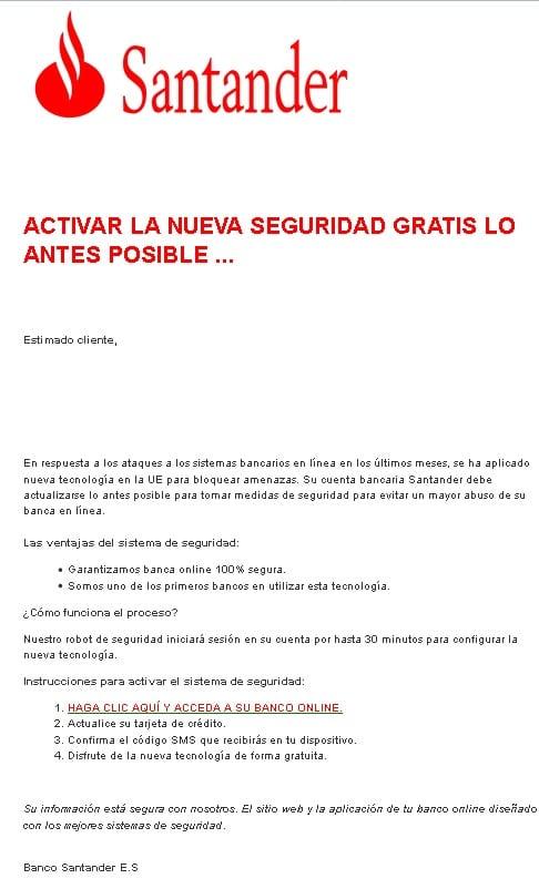 Falso email Banco Santander