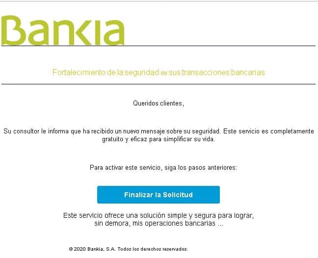 Falso email Bankia