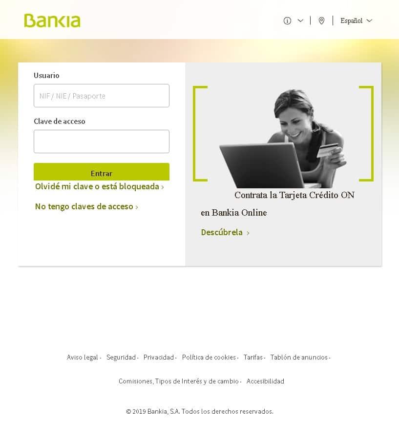 Falso portal de usuario Bankia