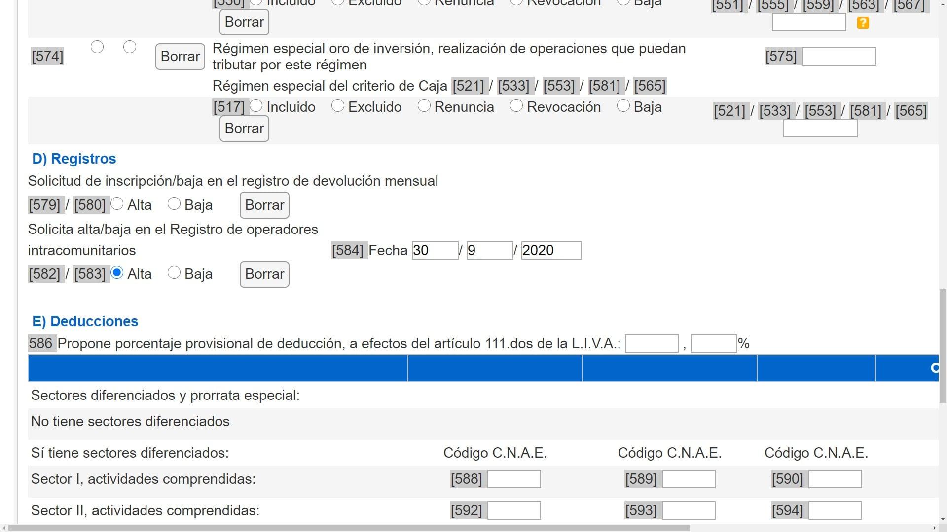 aeat modelo 036 impuesto IVA Registros