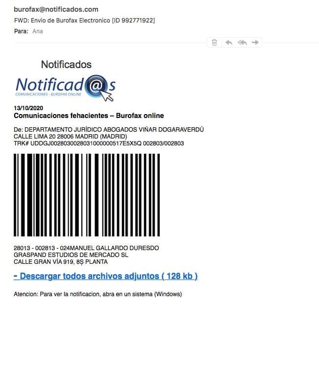 Falso email Notificados 13 octubre