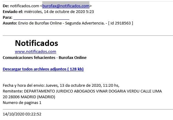 Falso email Notificados 14 octubre