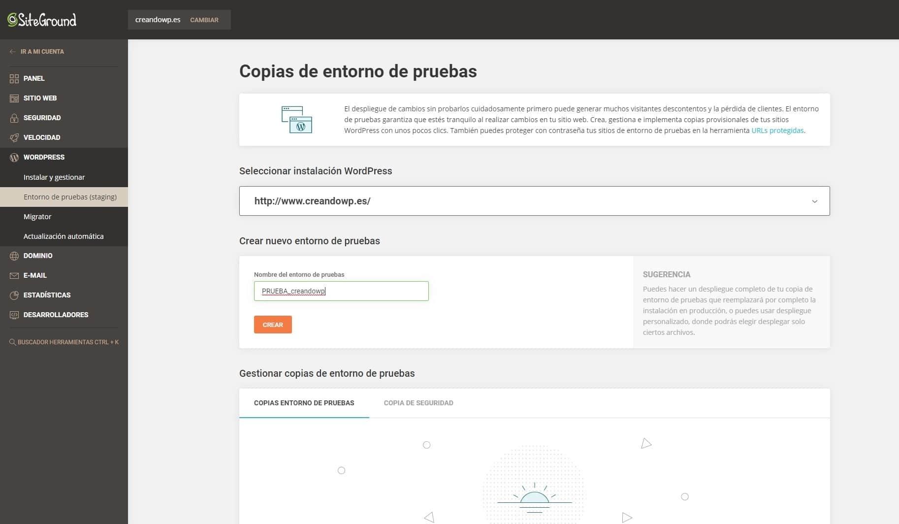 Siteground Copias de entorno de pruebas