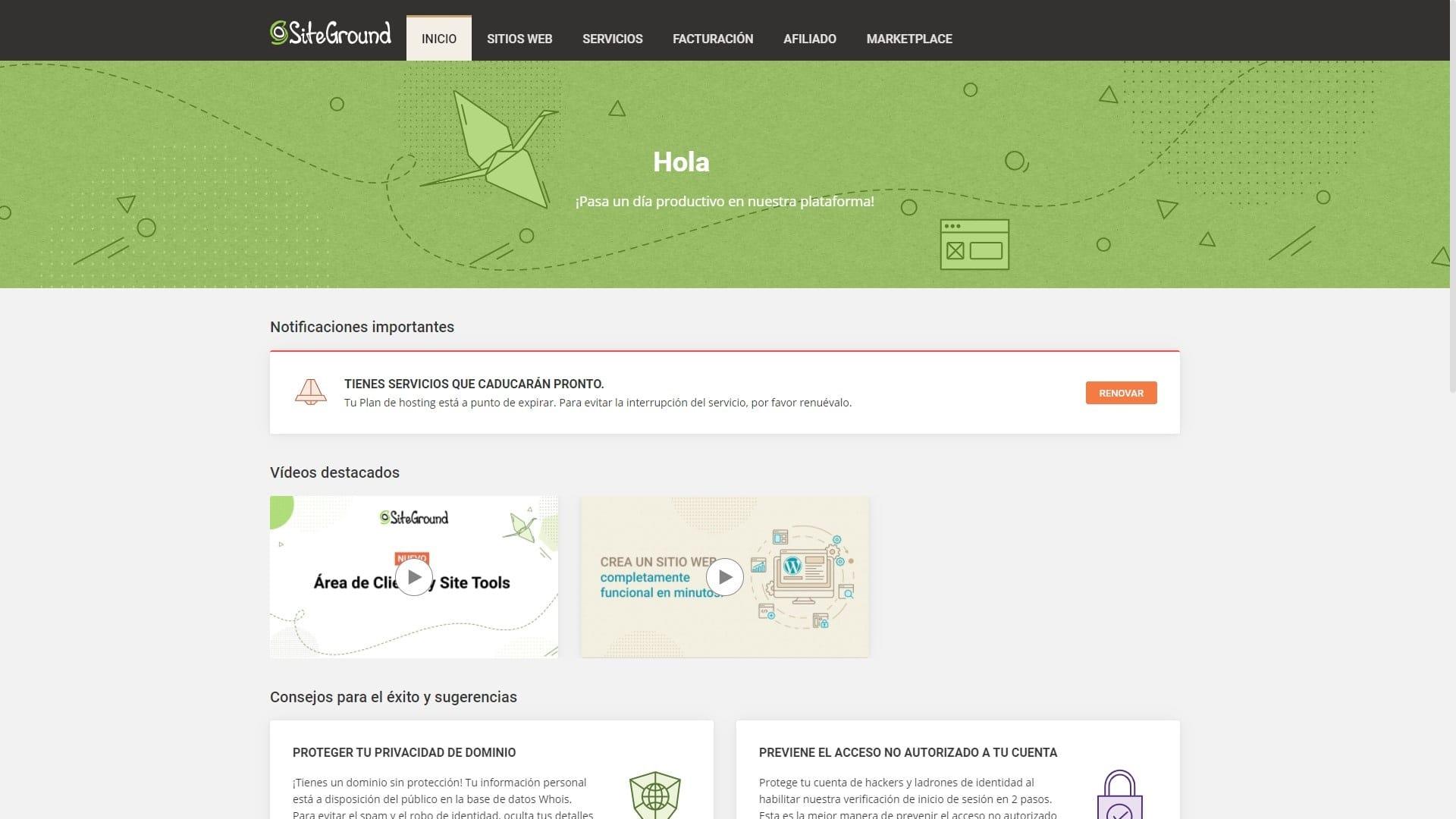 Siteground inicio perfil de usuario