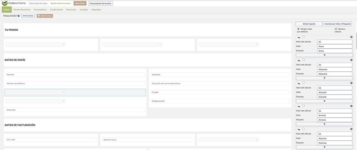 Añadir valor inputs caldera forms