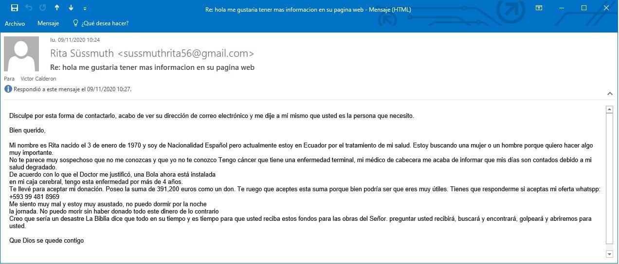 email de estafa Rita Süssmuth