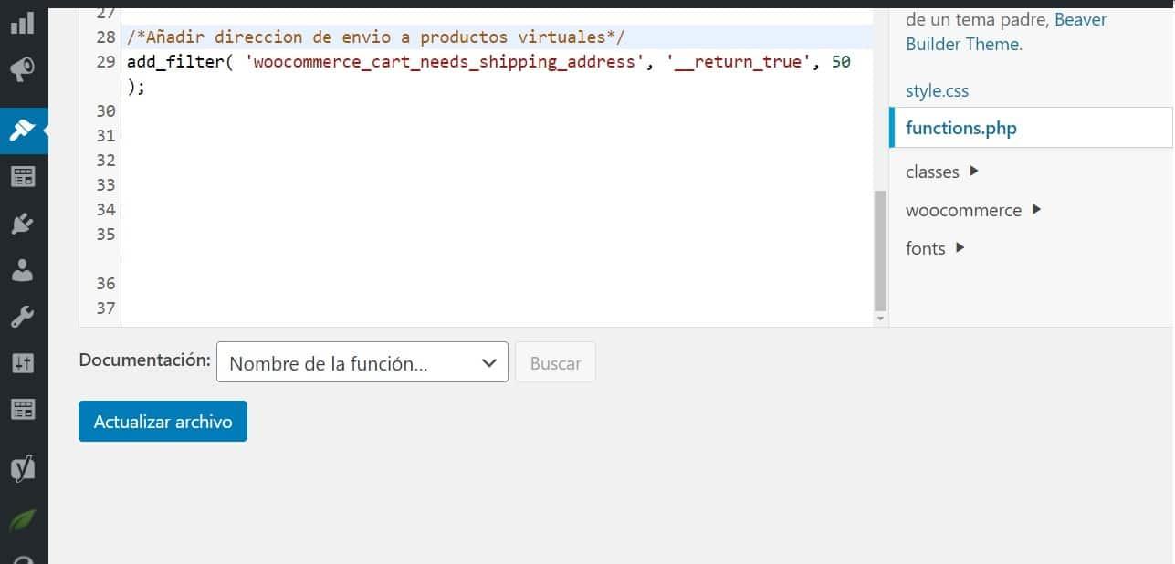 funtions php añadir direccion de envio a productos virtuales