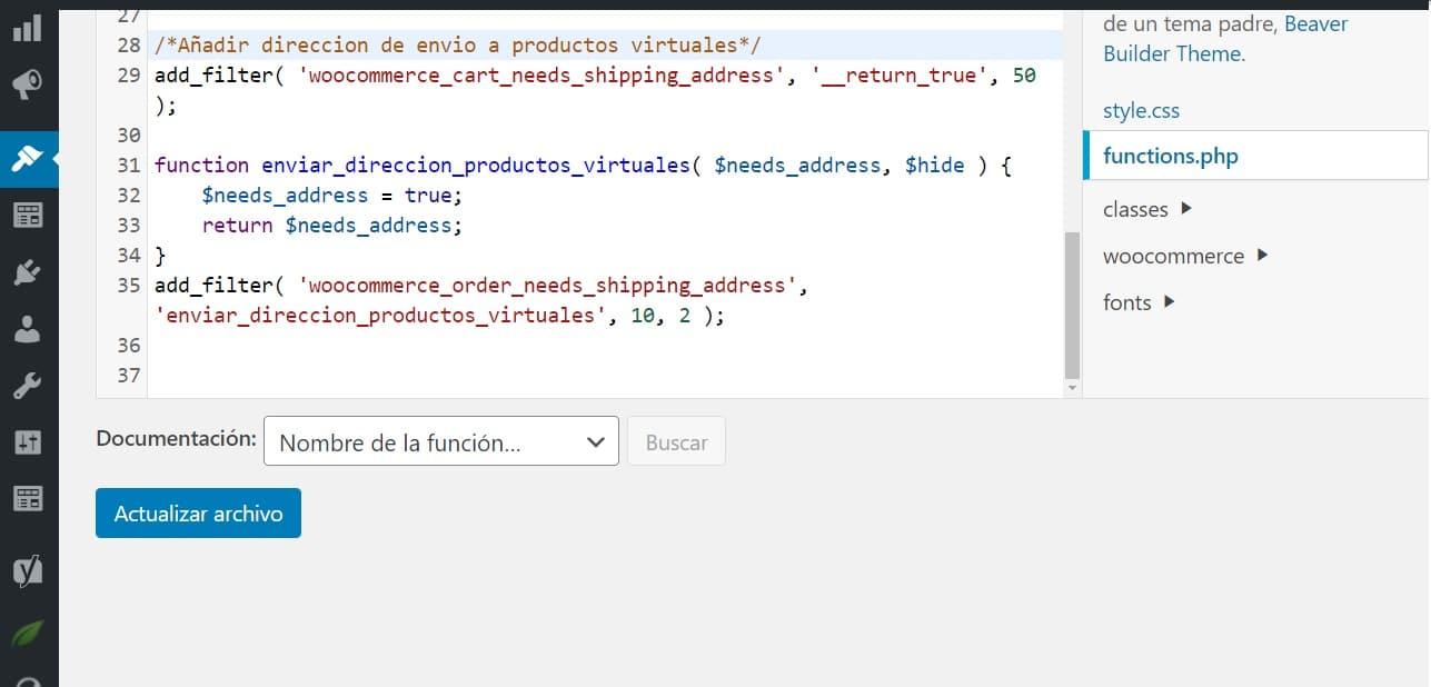 funtions php añadir direccion de envio notificaciones del administrador