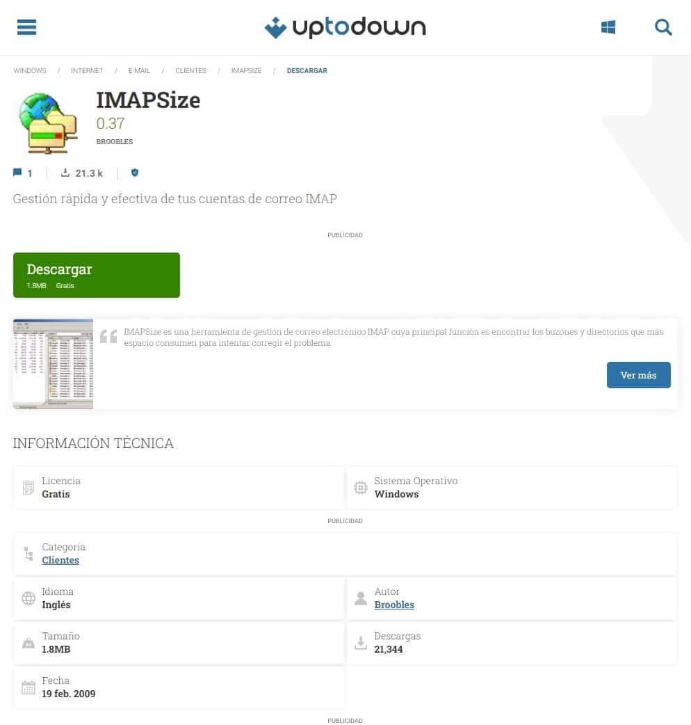 Imapsize pagina para descarga directa